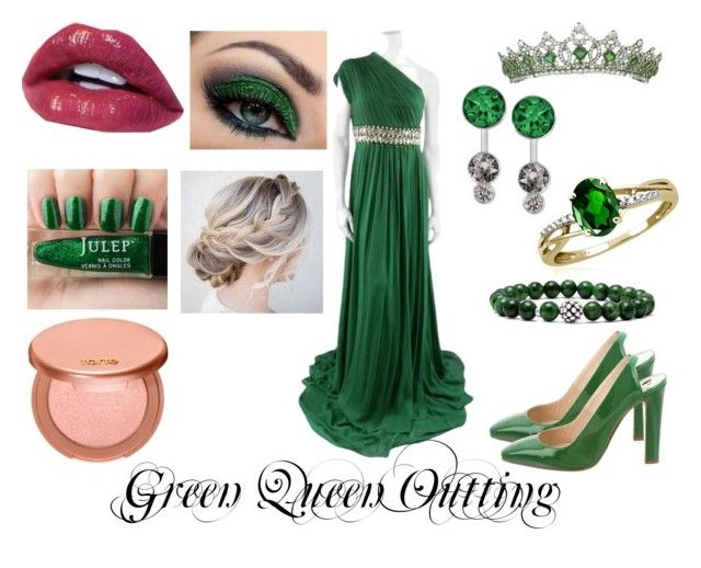 """""""Green Queen Outting"""" by aalittles ❤ liked on Polyvore featuring Naeem Khan, Jewelonfire, Swarovski, Lagos, tarte and Oscar de la Renta"""