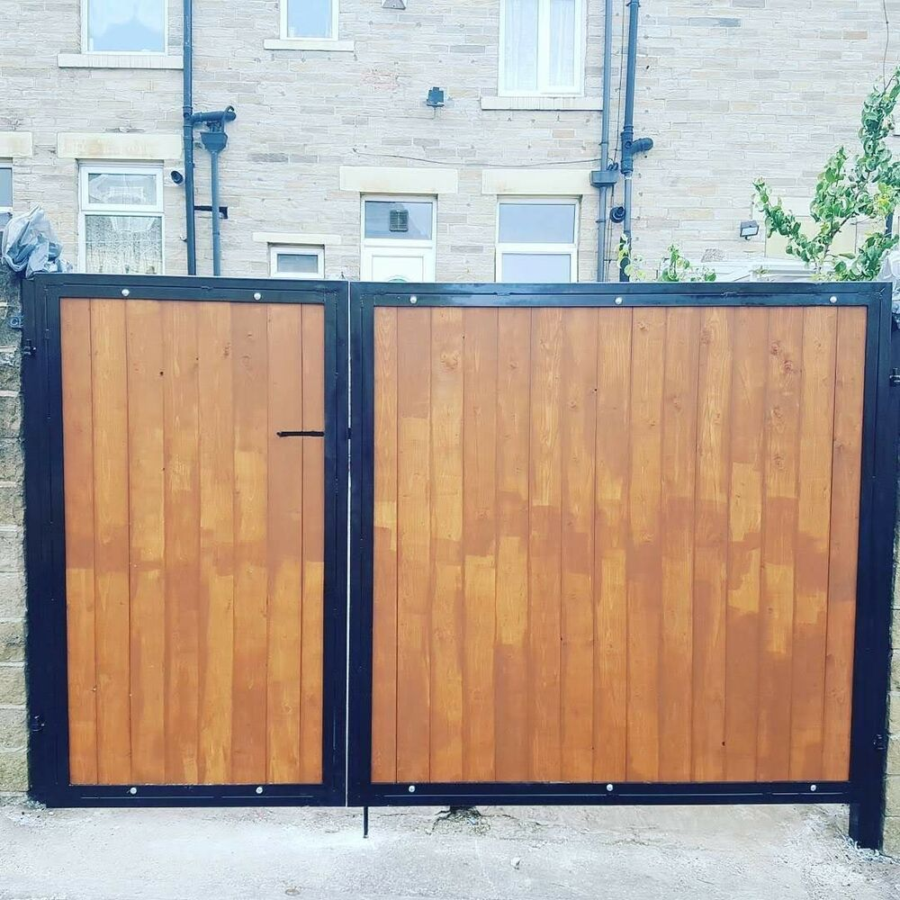 Details About Brand New Wrought Iron Wooden Infill Driveway Gates