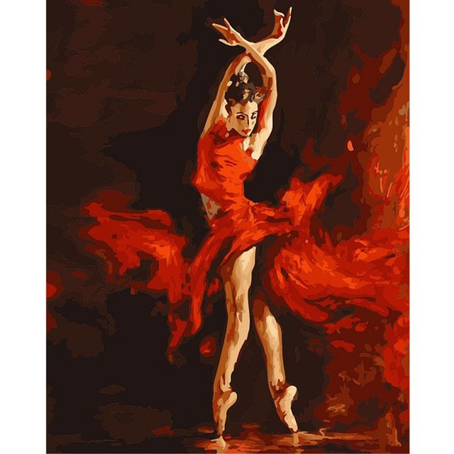 Diy digital oil painting by numbers paint drawing coloring by number canvas hand painted modular picture wall decor Red dancer
