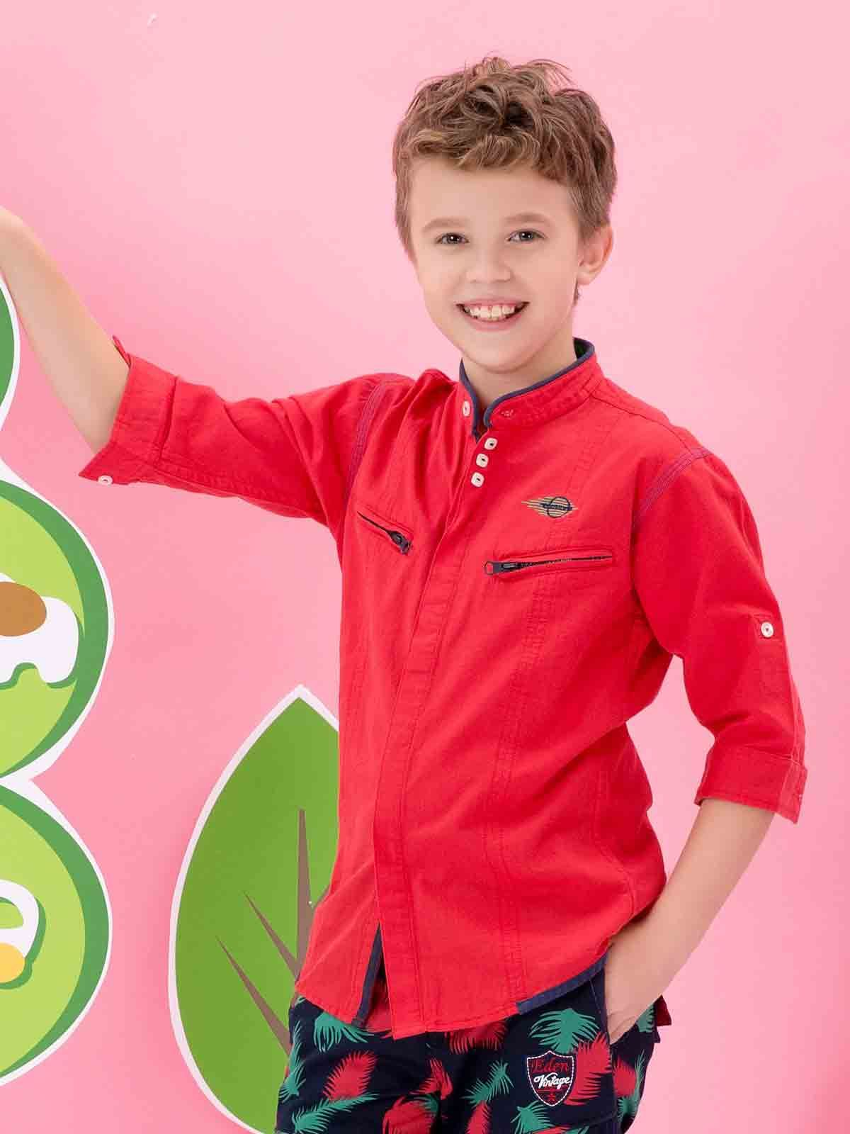 5cffd8e9db Edenrobe red shirt with pants latest eid dresses for little boys in  Pakistan 2017