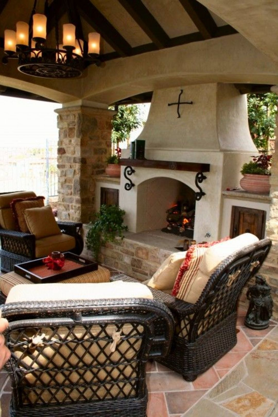 Cozy outdoor living love the colors home style - Outdoor living spaces with fireplace ...
