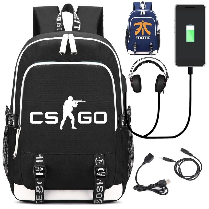 Game school bag CS CSGO Backpack with USB Charging Port and Lock Headphone  interface for College Student Work Men Women Counter Strike Global Offensive 1e44c8c90b623