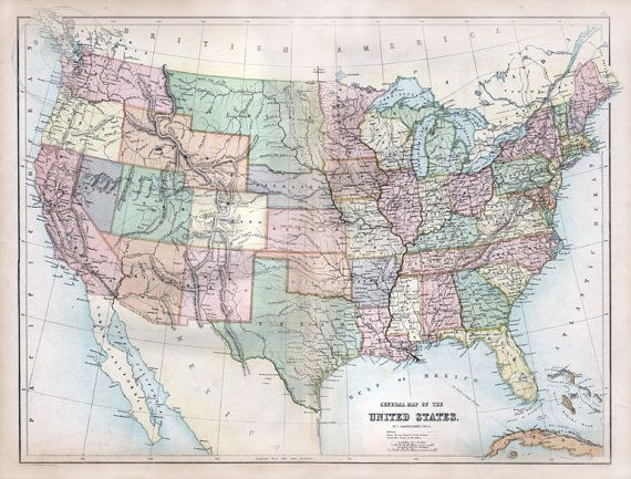 Map Of United States Historic North America Map Featuring The USA - Us map 1867