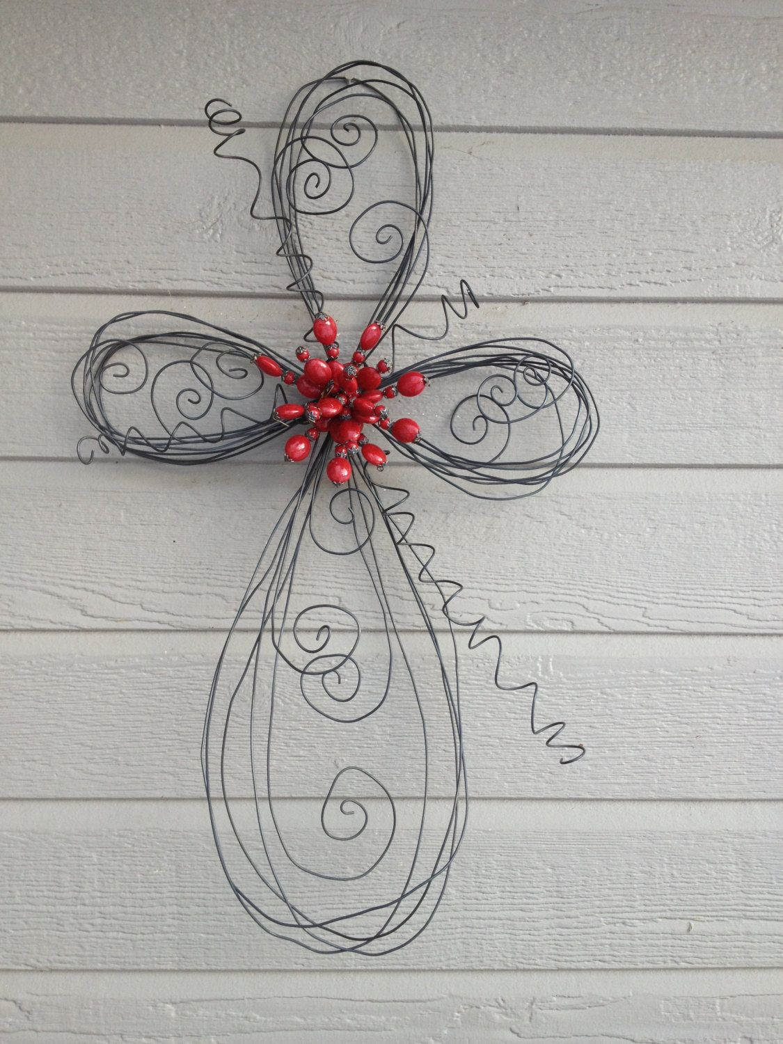 Swirls and Twirls Twisted Wire Red Beaded Cross. $60.00, via Etsy ...