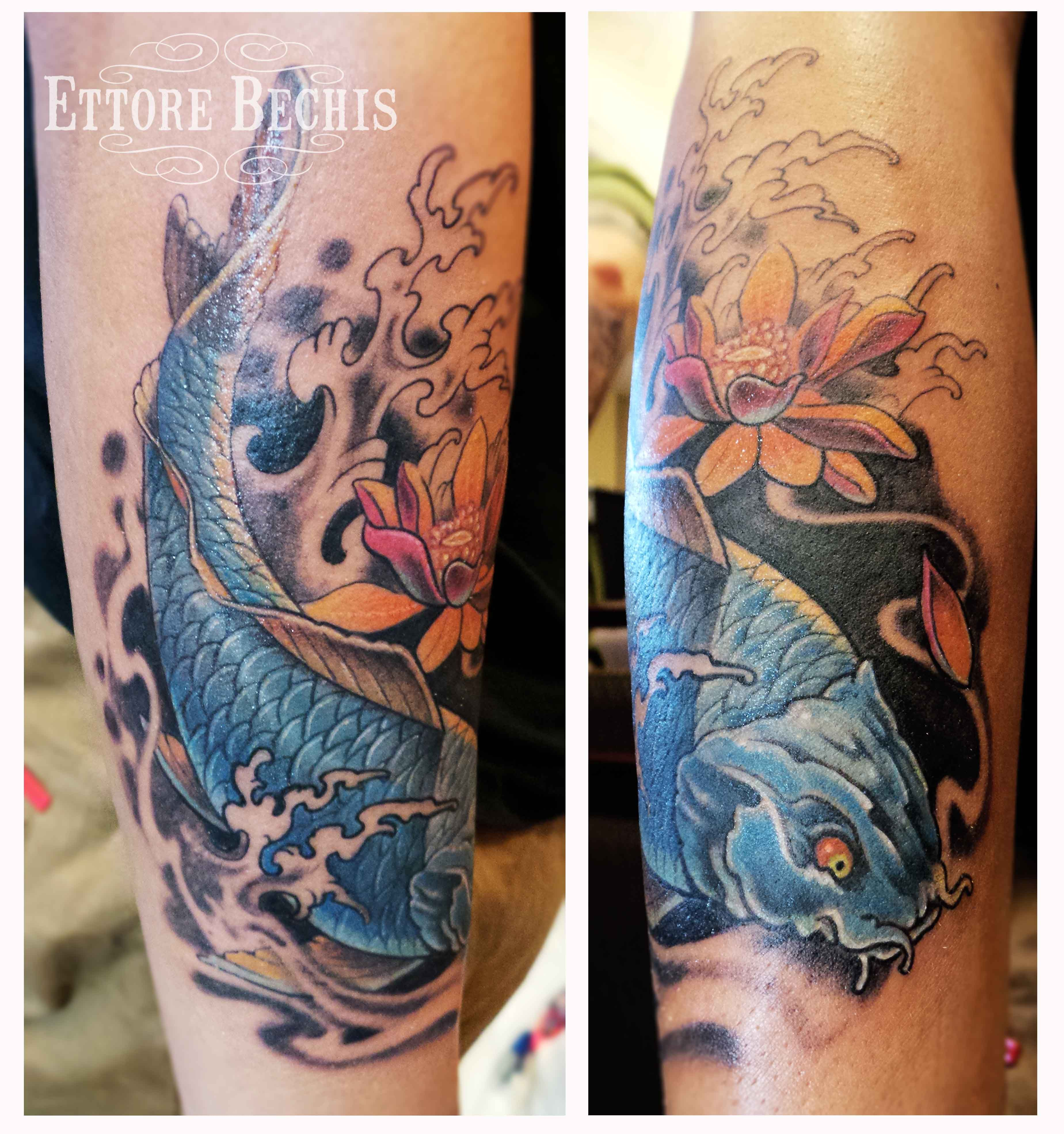 www.ettore-bechis.com Best Miami tattoo shop koi,fish,blue,waves ...