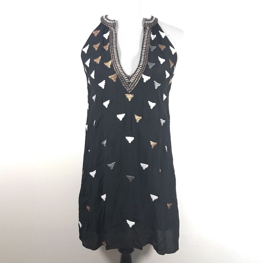 76d33b38b0 Chloe Oliver Size Small Black Swing Shift Dress Deep V Neck Embroidered  Metallic  fashion  clothing  shoes  accessories  womensclothing  dresses  (ebay link)