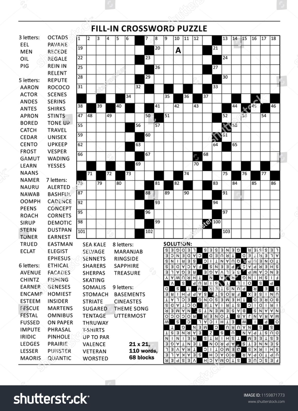 Fill In The Blanks Crossword Puzzle With American Style Grid Of 23x23 Size 68 Blocks 110 Words One Letter Reveale Fill In Puzzles Crossword Puzzle Crossword