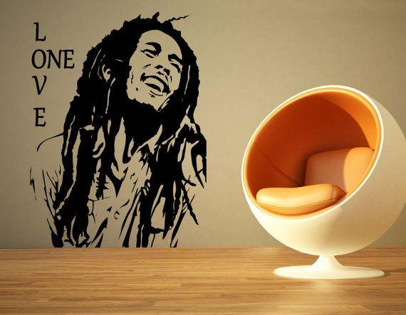 Large Music Bob Marley One Love Reggae Wall Art Decal Mural Sticker ...