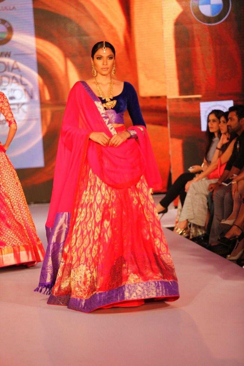 fe06be78fe7f Pink Silk Kanjivaram Lehenga With Blouse #bandbaajaa.com #weddinglehengas  #bridallehangas #shaadilehengas #designerlehengas #lehengacholi  #weddingdresses ...