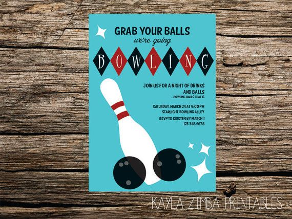 Ummmmcheck the wording GIGGLES Bowling Party Invitation Retro - bowling invitation