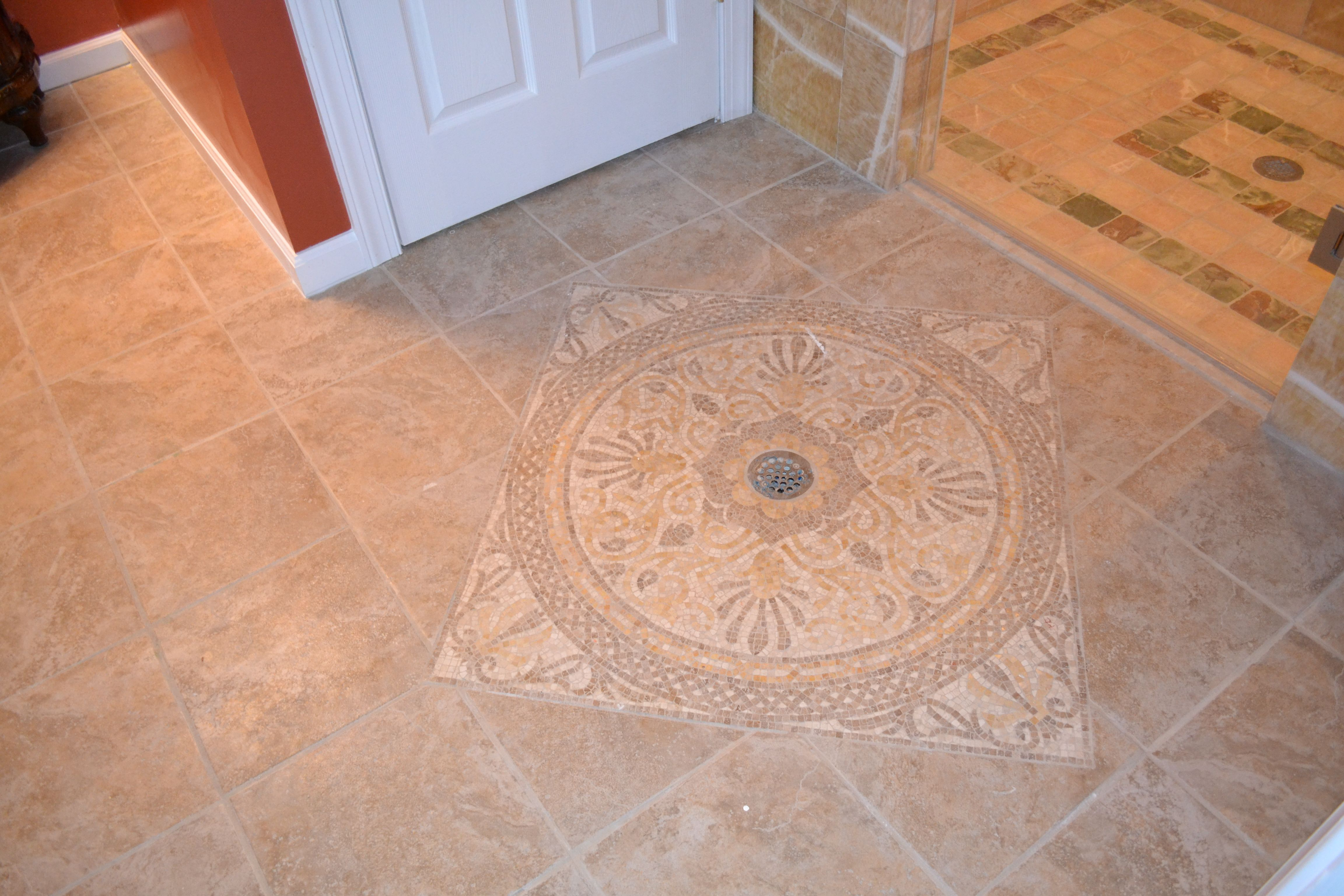 A Beautiful Floor Pattern We Hand Laid Around A Floor Drain
