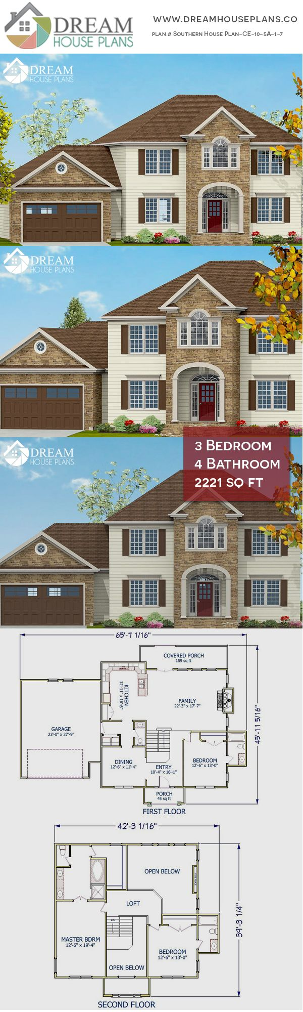 dream house plans affordable southern family 3 bedroom 2221 sq ft rh pinterest com