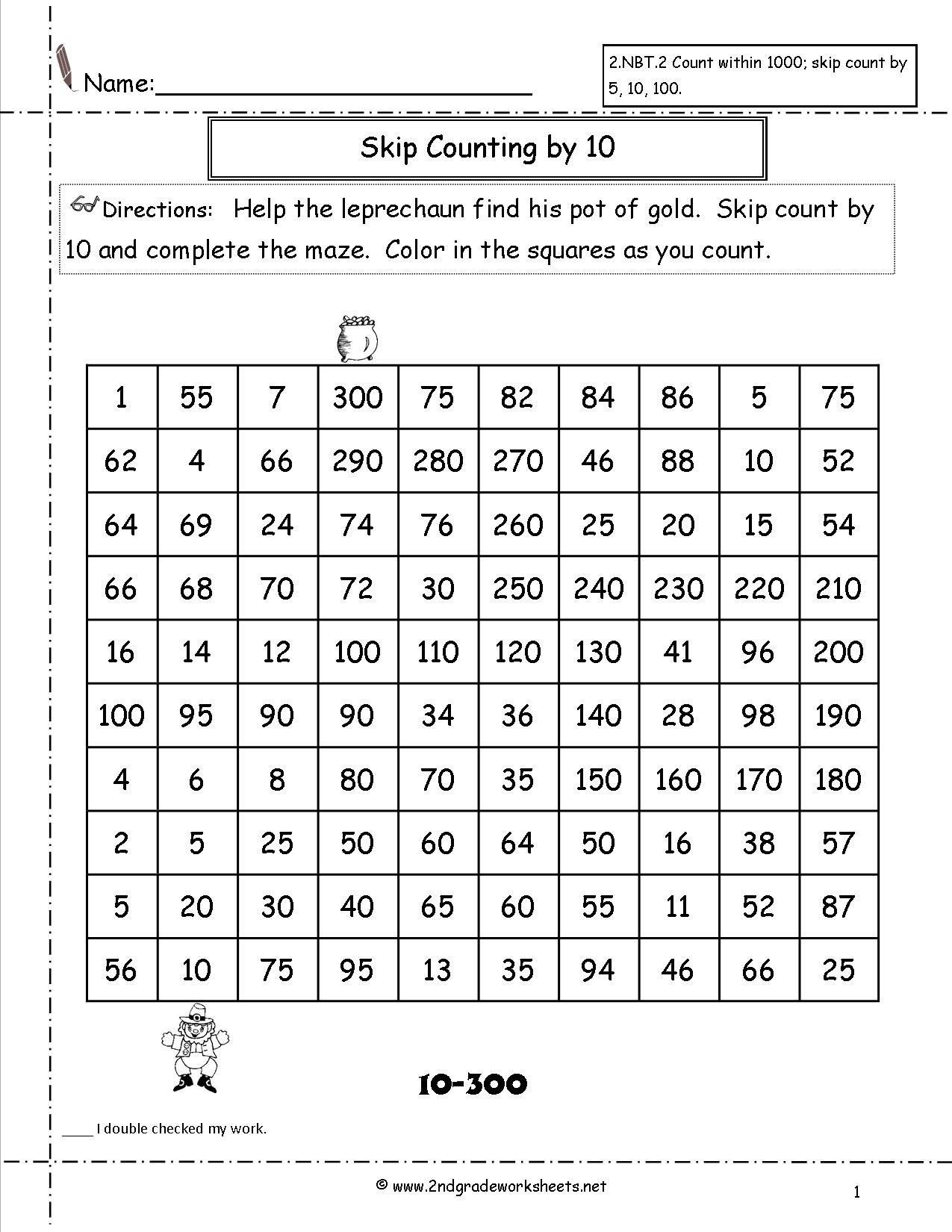 Skip Counting By 10 Maze Worksheet