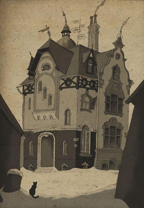 Thilo Krapp Illustration: Ein unheimlicher Ort | A Spooky Place Thilo Krapp bei Kettcards: http://www.kettcards.de/page/kuthkr001.php