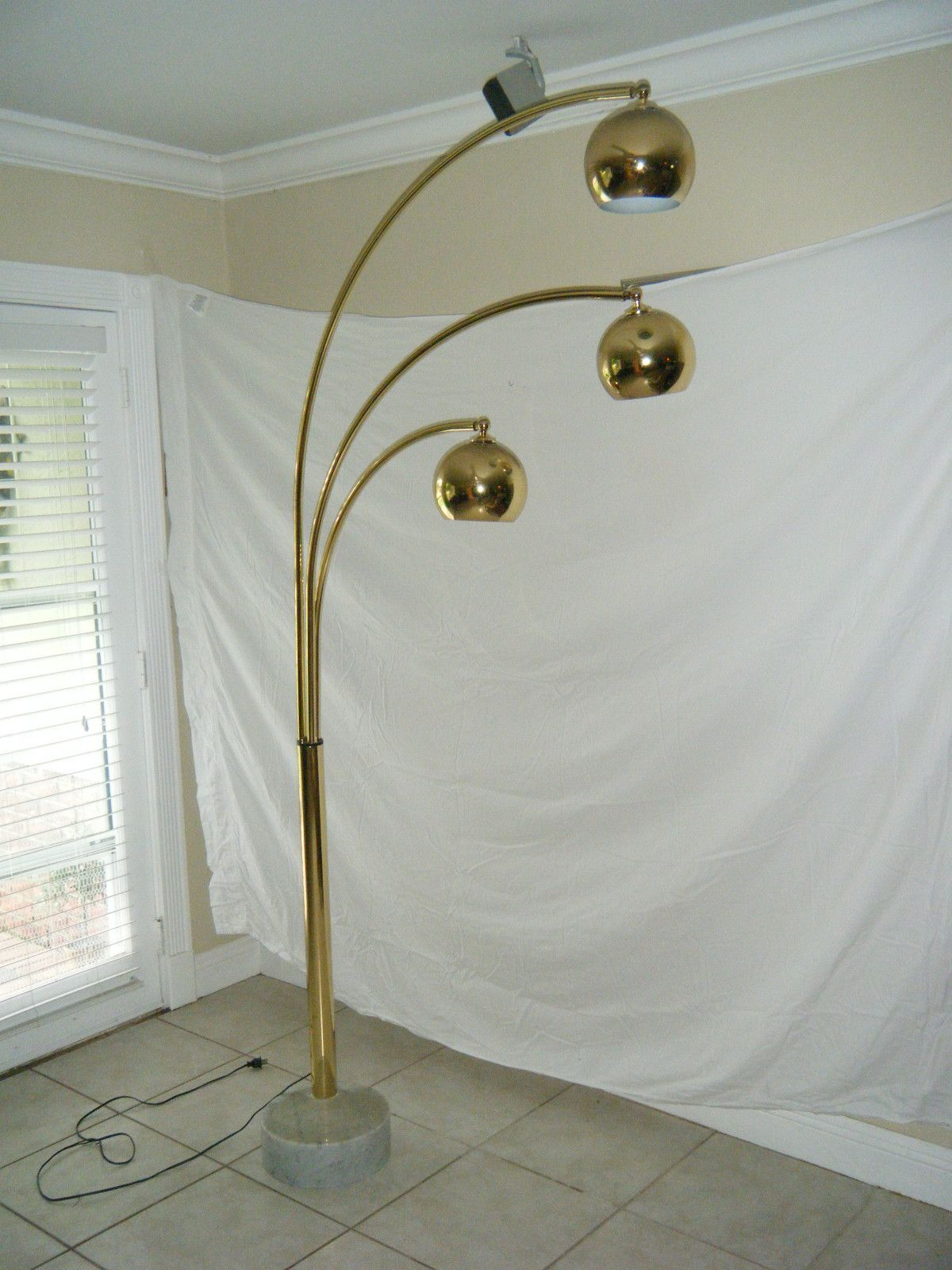 Vintage mid century brass plated arc floor lamp with 3 eye balls ...