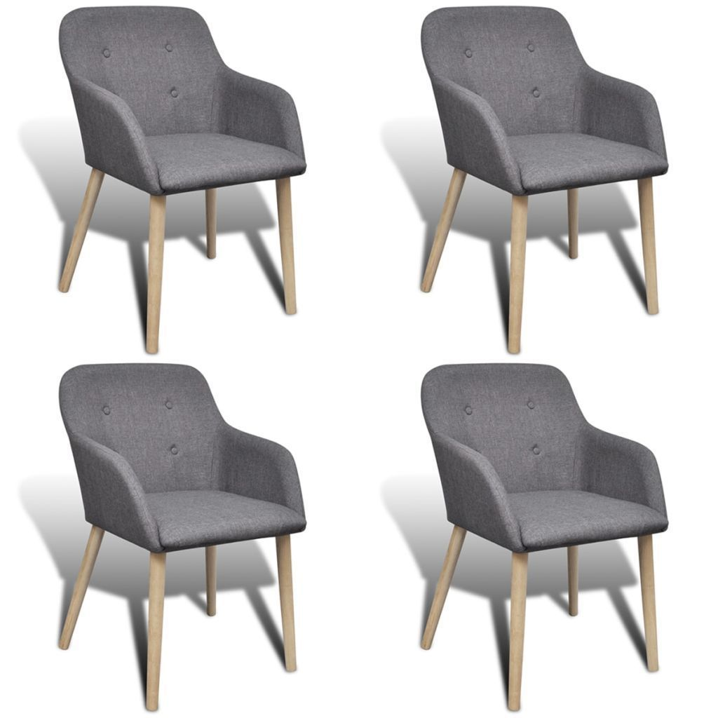 H4home Mid Century Modern Dining Chairs 4 Pcs Grey Fabric Dining