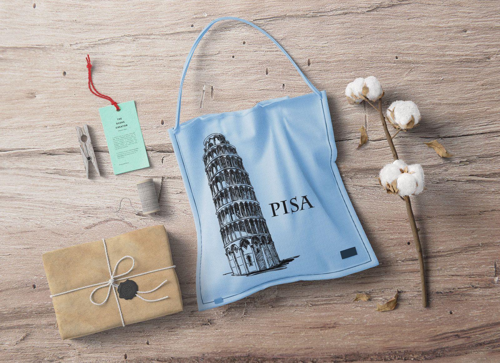 Download Free Gift Box Cloth Tag Label Shopping Bag Scene Mockup Psd Bag Mockup Gift Box Free Gifts