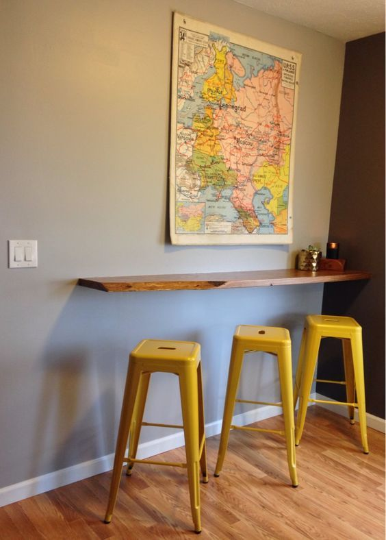 Appealing Floating Bar Table With Floating Breakfast Bar Wall