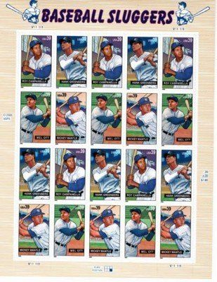 Baseball Sluggers 20 X 39 Cent Us Stamps 4080 4083 NEW 1465 One 1 Sheet Of The Each United States