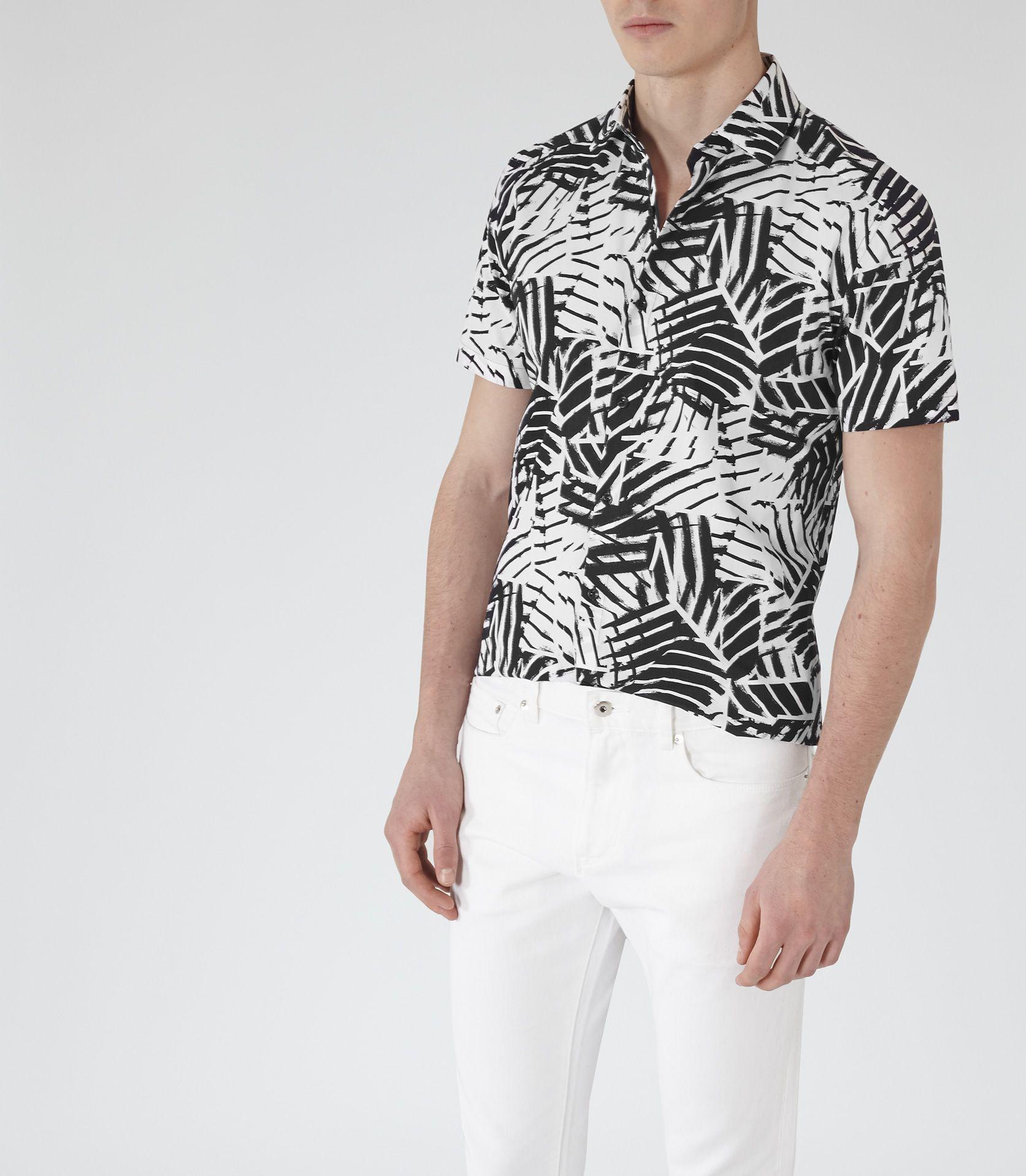 Black t shirt reiss - Mens Black Palm Print Shirt Reiss Martian