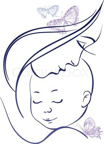 mother and baby line drawing - Google Search | To Draw ...