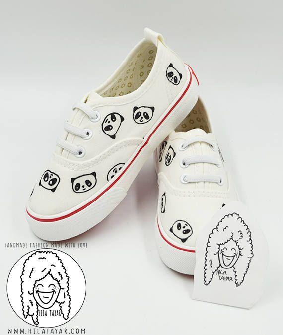 So adorable white panda sneakers for kids. #kids #white #sneakers #panda