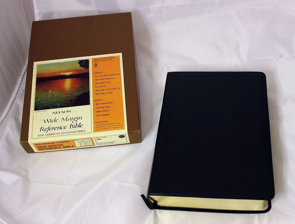 1977 Nelson Black Perma Leather Wide Margin NASB Reference Bible