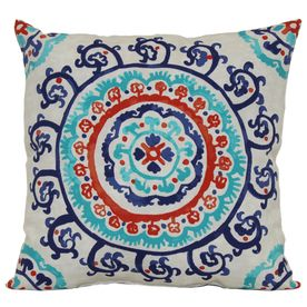 Garden Treasures White Multi UV Protected Outdoor Decorative Pillow   Lowes    13.98