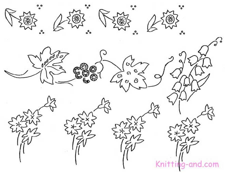 Free Embroidery Pattern: Small Floral Motifs c1930