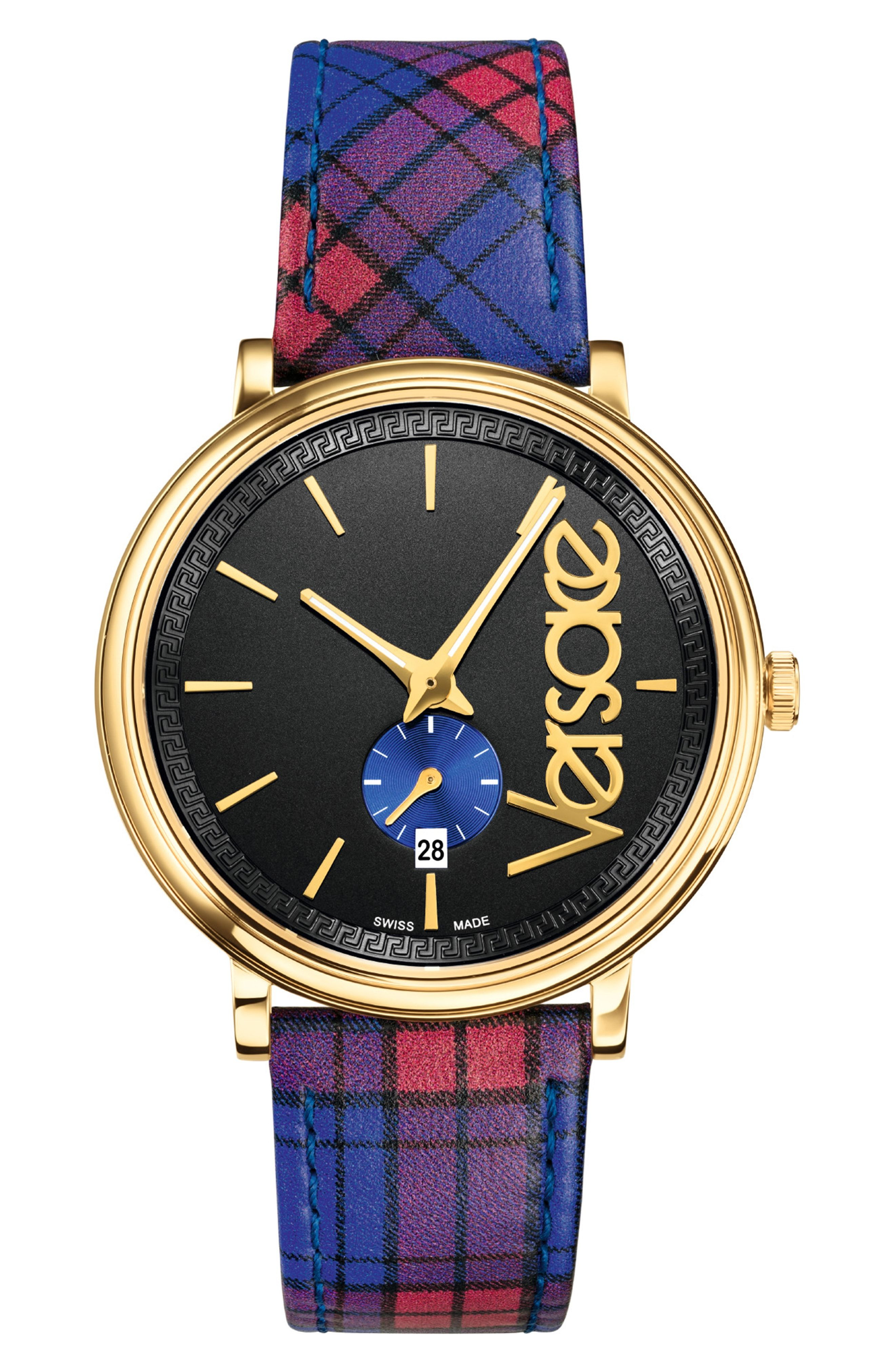 11c4d6d3a4 VERSACE V CIRCLE CLANS EDITION LEATHER STRAP WATCH