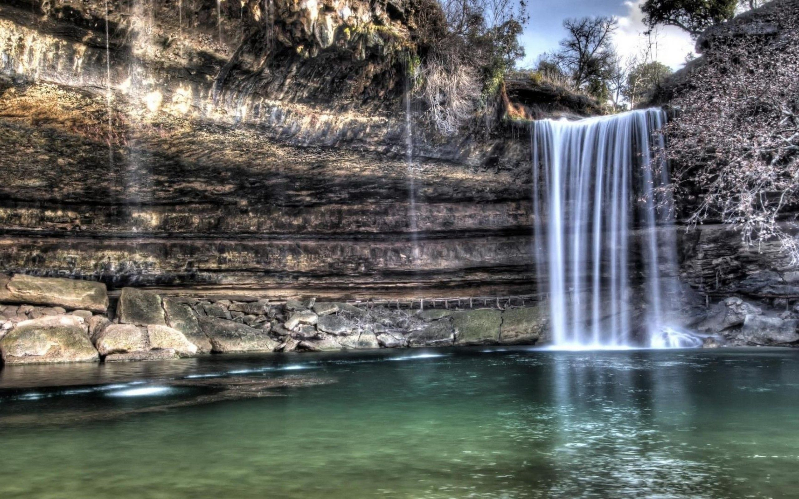 Wonderful Waterfall Over A Cliff Hdr laptop wallpapper
