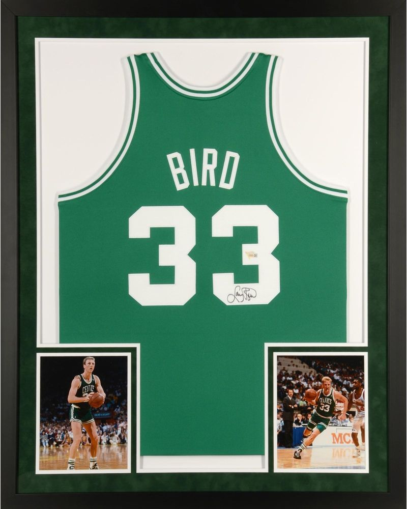 4768a2eb5 Larry Bird Boston Celtics Framed Signed Green Mitchell   Ness Jersey -  Fanatics