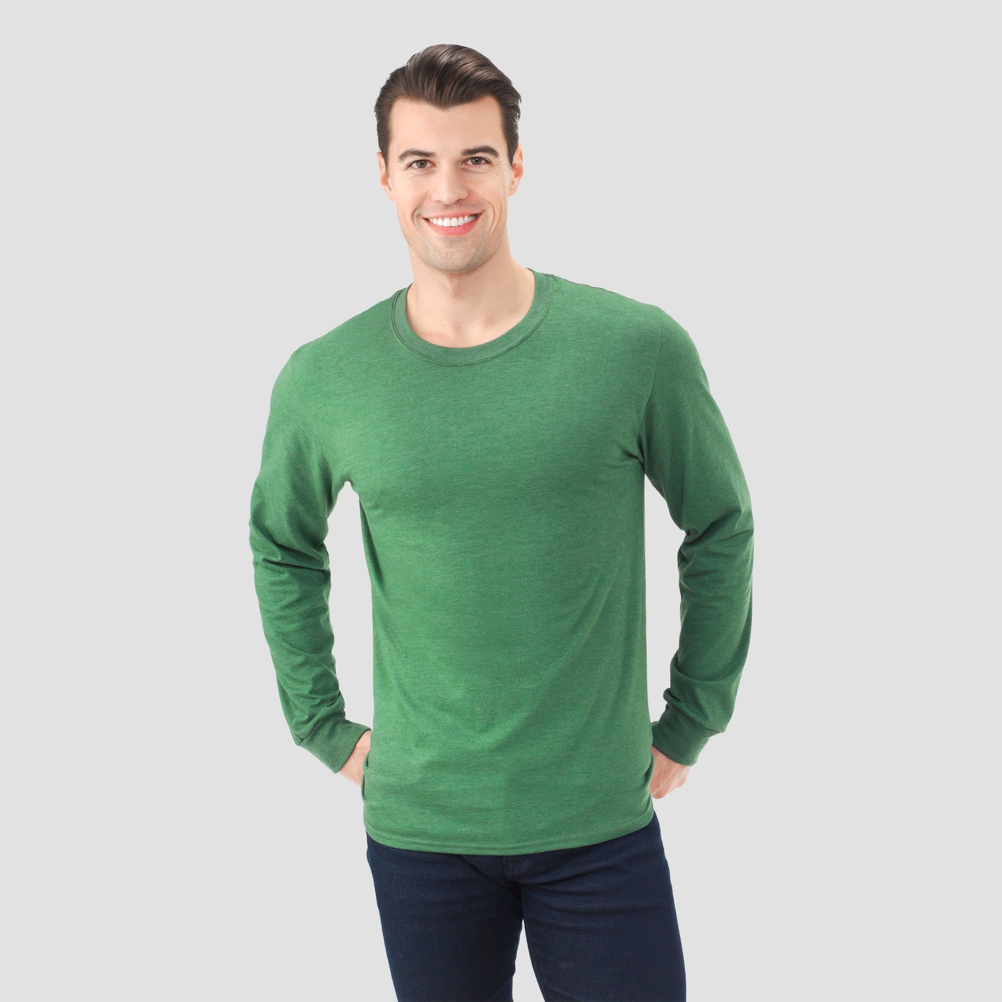 3a19f73adbe62 Fruit Of The Loom Men s Long Sleeve T-Shirt - Holly Green Heather ...