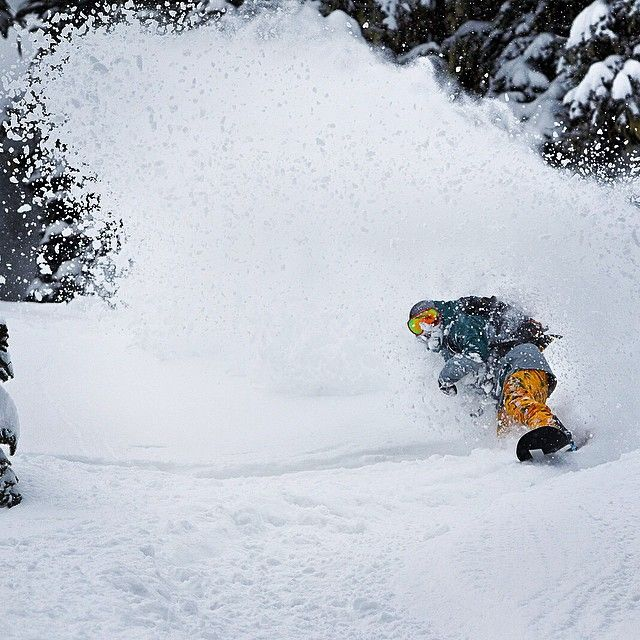 Winters coming! Austen Sweetin cuts up some powder. #snowboarding