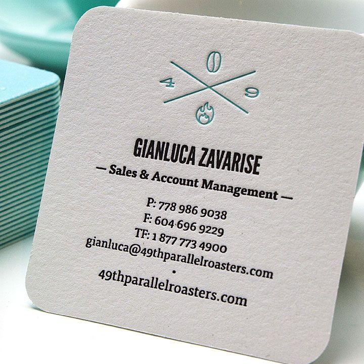 Cute square shaped letterpress business cards with blind embossing jukeboxprint com