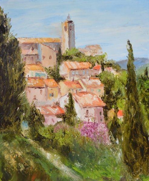 Tableau Peinture Sollies Ville Peinture Couteau Provence Village