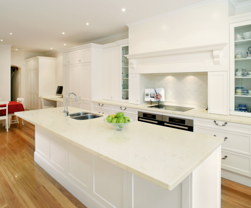 If you like you want a white and light kitchen, then Quartz Stone P98 will be the best material to collocate with white cabinets, you will bet fond of it