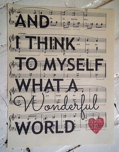 Upcycled Sheet Music Print What A Wonderful World Quote Song