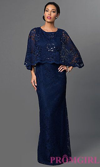 Navy Blue Floor Length Lace Dress with Attached Cape at ...