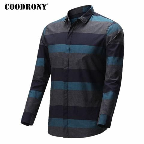 1e3802d01f9 COODRONY Shirt Men 2018 Spring Summer New Arrival Casual Cotton Shirts  Striped Camisa Masculina Plus Size 4XL Chemise Homme 8702
