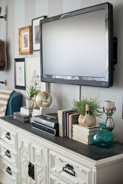 Collecting Ideas To Decorate Under And Around Our Mounted Tv