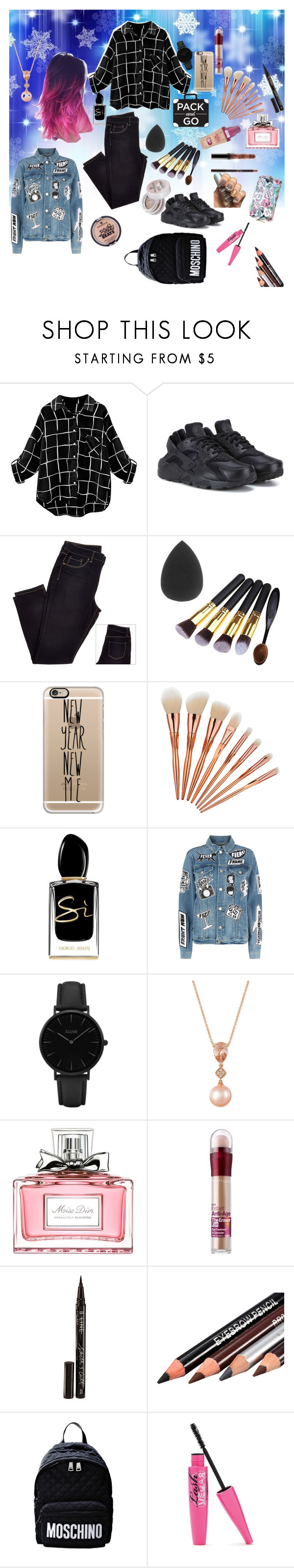 """Untitled #113"" by vittoriapeverani ❤ liked on Polyvore featuring NIKE, Casetify, Giorgio Armani, Frame, CLUSE, LE VIAN, Christian Dior, Maybelline, Smith & Cult and Moschino"