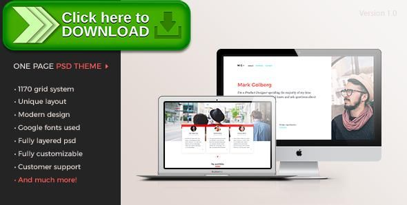 Free nulled MG u2013 Freelance Portfolio \ Resume One Page PSD - resume one page