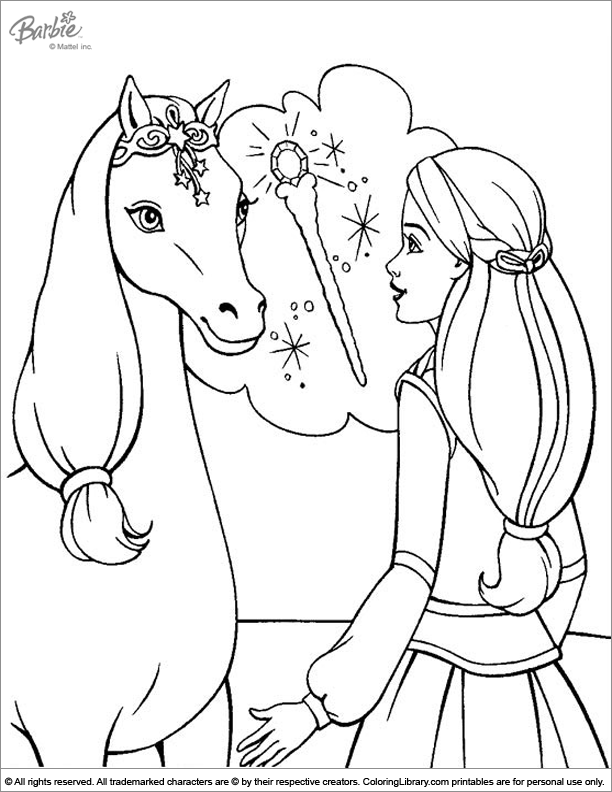 Barbie Coloring Page Barbie With Her Horse Paper Crafts 3