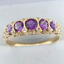Gold and amethyst gypsy ring