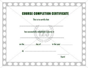 Completion certificate archives 123 certificate templates 123 this will be the best course completion certificate template can be used for course completion in school college short term courses like music dance etc yadclub Gallery