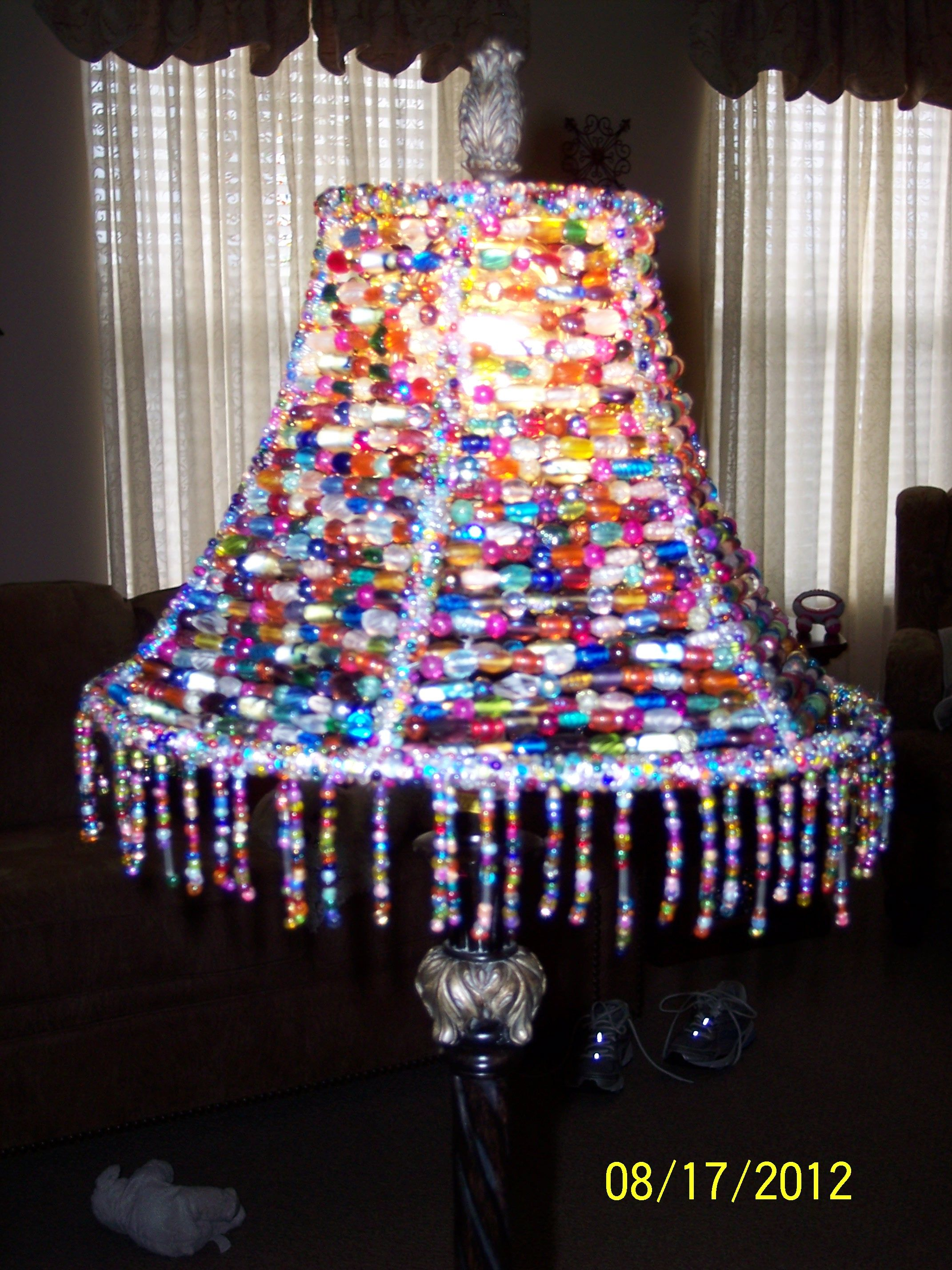 An ugly lampshade transformed with glass beads things to make an ugly lampshade transformed with glass beads mozeypictures Choice Image