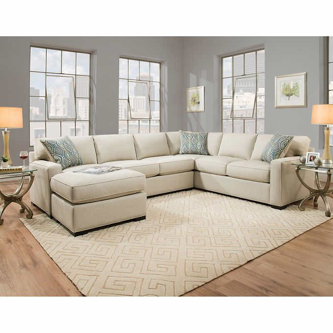Karissa Fabric Sectional Off White Home Living Room Sectional Fabric Sectional