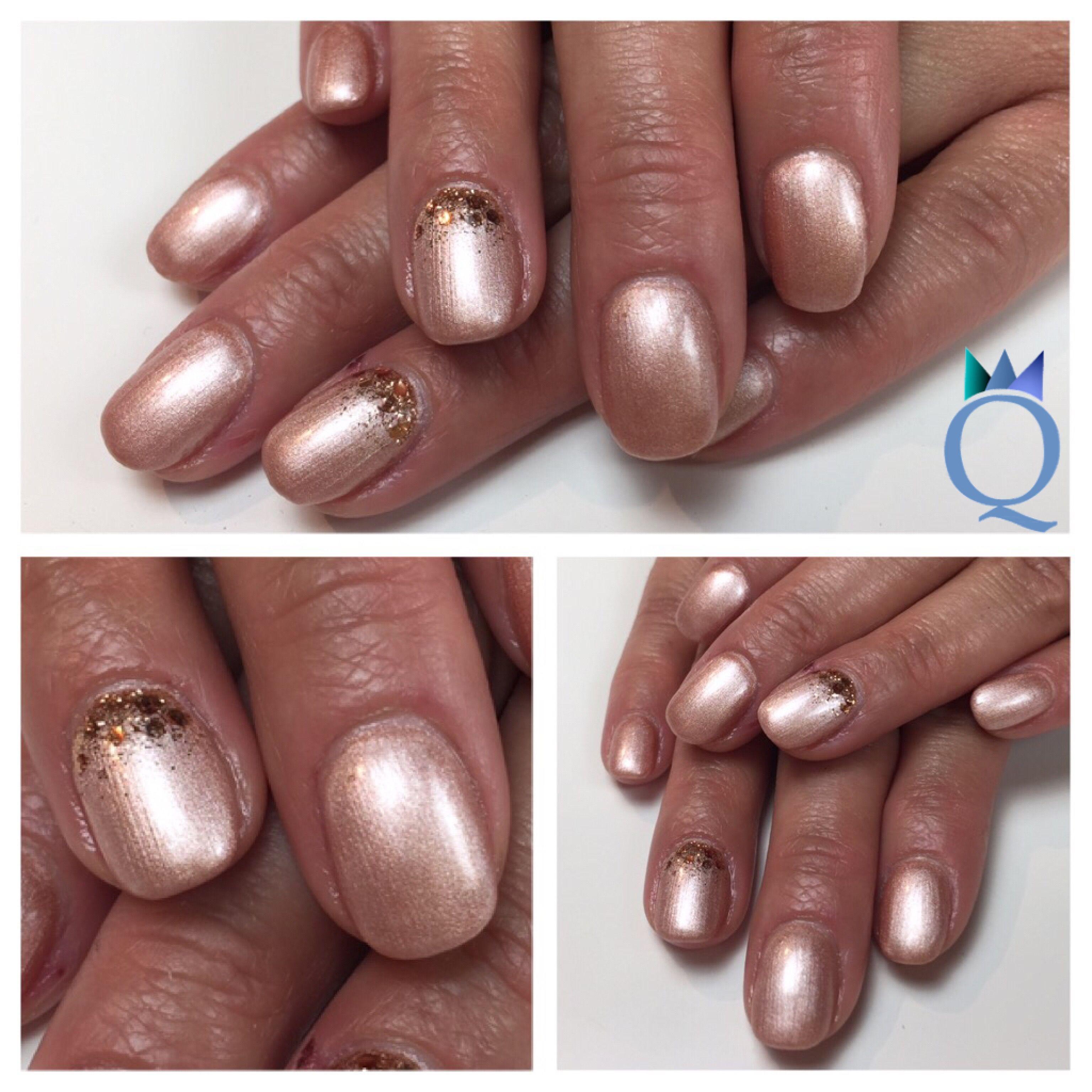 shortnails #gelnails #nails #rosegold #glitter #kurzenägel #gelnägel ...