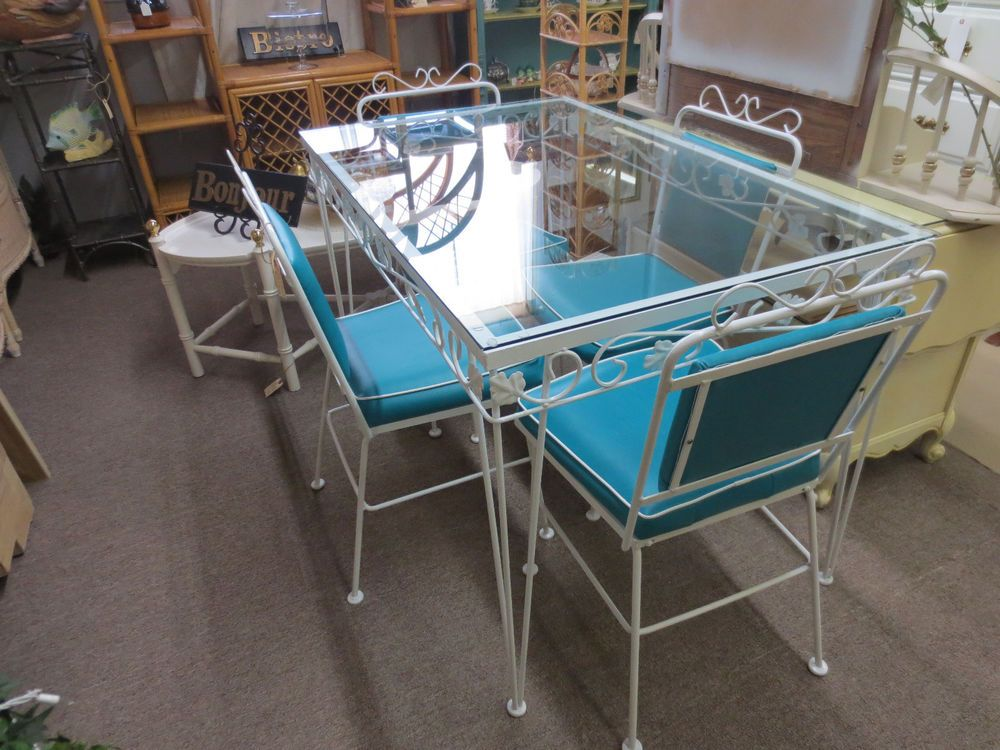 Vintage wrought iron patio or sun room table and chair set ...